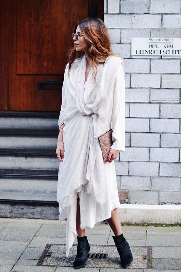 Maja Wyh looks casual-cool in a flowy dress with ankle boots. // #streetstyle