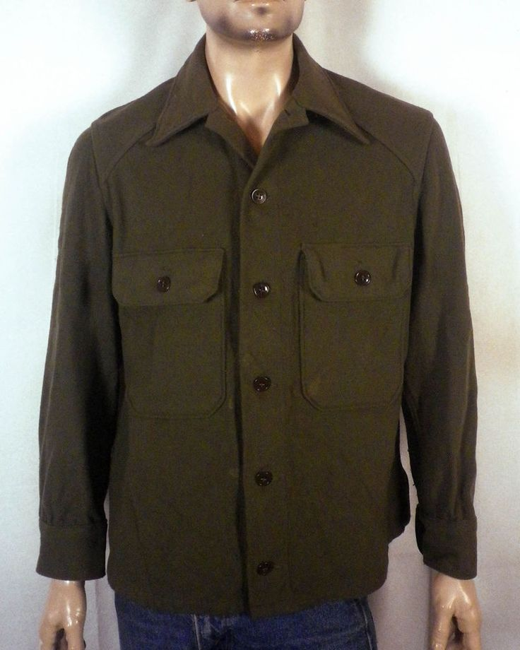vtg 50s US Army 1951 Wool Field Shirt Uniform Jacket Military rockabilly SZ M/L