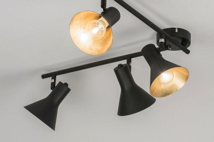 Plafonnier 11001: Moderne, Noir, Mat, Acier