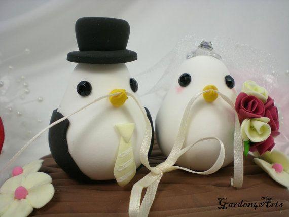 NEW--Love Bird Couple with Clay Log Base--Custom Wedding Cake Topper