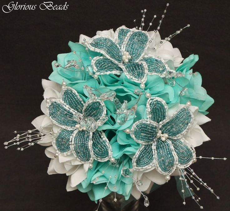 Distinctive Glorious Garden Silk Flower Centerpiece At Petals: AQUA TEAL BEADED Flower Quinceanera Bouquet 16 PC Set