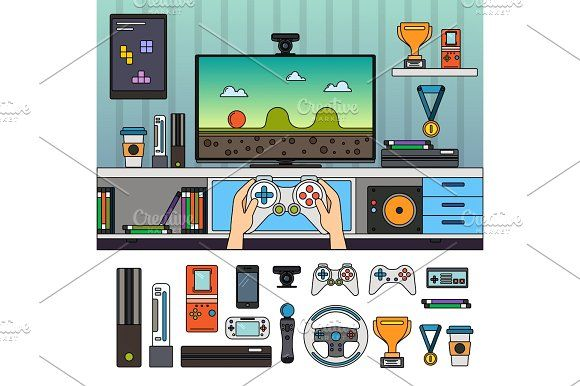 Gamer room with gadgets Graphics Gamer room with different gadgets and other tools. Technology and modern life concept. Computer, hea by Mountain Brot…