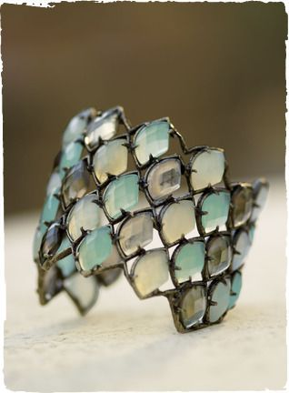 Cuff | Peruvian Connection Designs. Brass Base Metal With Antique Brass Plating, Smoky Quartz (Glass Stone), Chalcedony (Glass Stone), Aqua Chalcedony (Glass Stone)