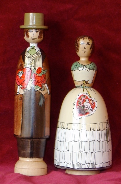 Victorian Valentines (brown) painted on white sassafras by Jilli Roberts for the Deepings Dolls