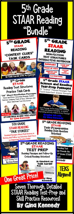 5th Grade Reading STAAR Resource BUNDLE! Seven 5th Grade Reading Resources Aligned to the 5th Grade STAAR Texas Reading TEKS! With this bundle, you'll find seven reading products that reinforce important reading skills that students need to be successful on their final reading exam. The resources are great for test-prep, intervention, tutoring, or whole class review. $