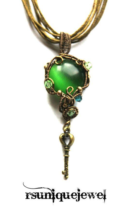 OAAK Wire Wrapped Green Pendant Key Pendant by rsuniquejewel
