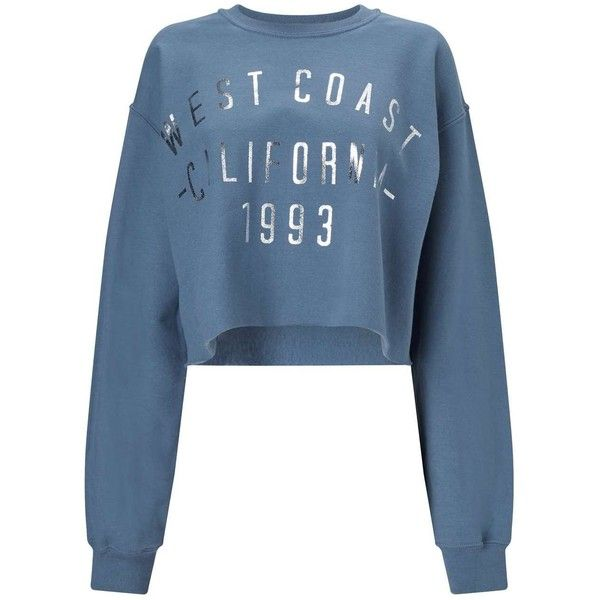 Miss Selfridge Blue West Coast Sweatshirt ($44) ❤ liked on Polyvore featuring tops, hoodies, sweatshirts, blue, cropped tops, cut-out crop tops, long sleeve tops, blue long sleeve top and blue crop top