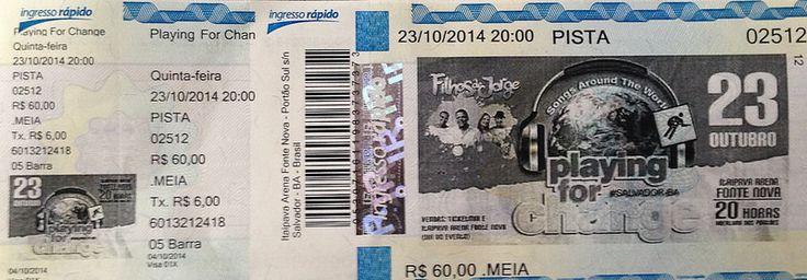 INGRESSO (Ticket) - Show Playing For Change - Itaipava Arena Fonte Nova - Salvador-Bahia-Brasil (23-10-2014)