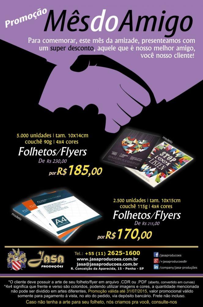 Última semana da promoção para panfletos (folhetos, flyers) com preço especial. Faça você também sua promoção e destaque-se dos demais fazendo sua impressão com nossa empresa.  Confira outros materiais gráficos em: www.jasaproducoes.com.br/grafica  #jasaproducoes #impressosjasa #folhetosjasa