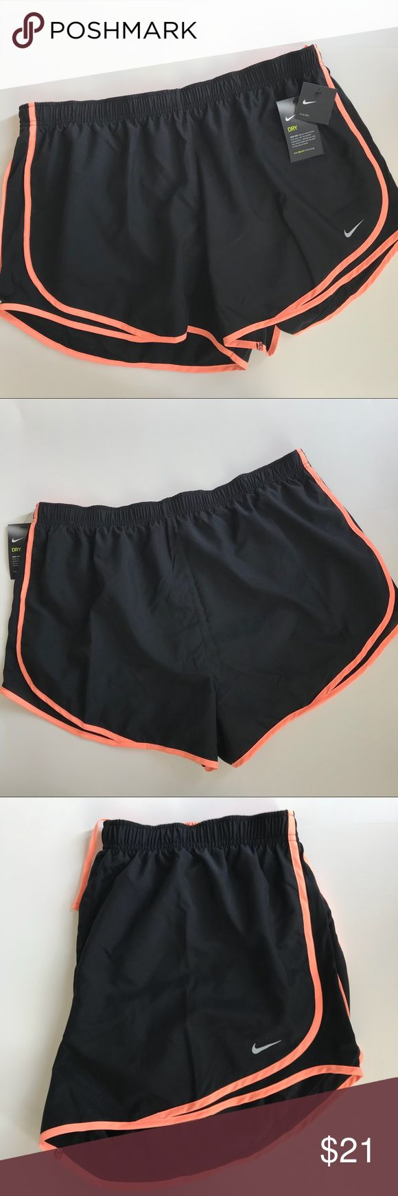 New NWT Nike Dri Fit running shorts black plus 2X Brand new with tags attached never worn. Nike plus size women's size 2X running shorts. Black with peach accent color. Lined. Drawstring elastic waist. Smoke free pet free home. Measures 37 inch waist, 14 Inches length, 3 inch inseam. Nike Shorts