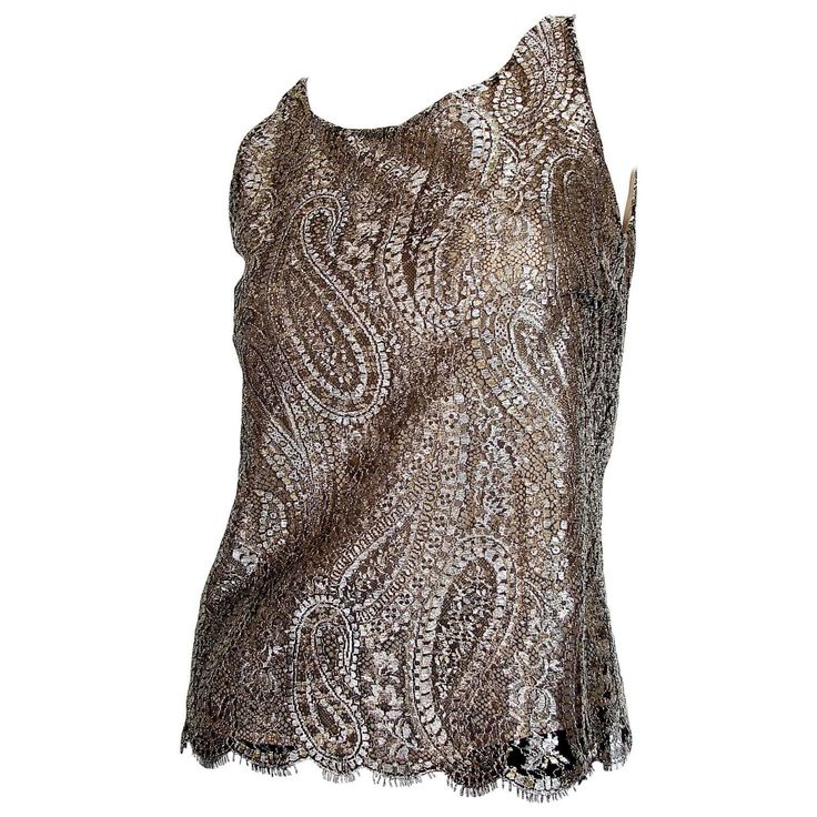 Chanel Metallic Paisley Lace & Silk Shell Top 2013 Collection Size 38 1