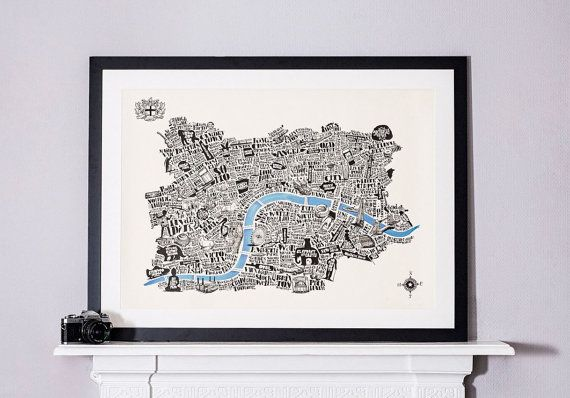 This is our most popular ever print, now subtly reworked to include Tooting, Peckham, Shepherds Bush, Highgate, Hampstead and Maida Vale, with a compass