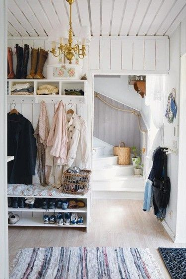 need ideas for my back foyer closet...I am ripping the door off b/c the boys can never shut it...so I need it to look nice....
