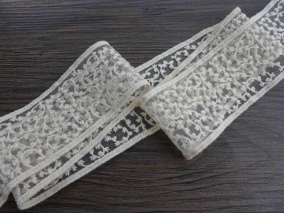 Bella francese Beige Lace Trim ricamo Tulle Pizzo Tessuto Trim per abiti da sposa, archi, torte, invito carta, cucito