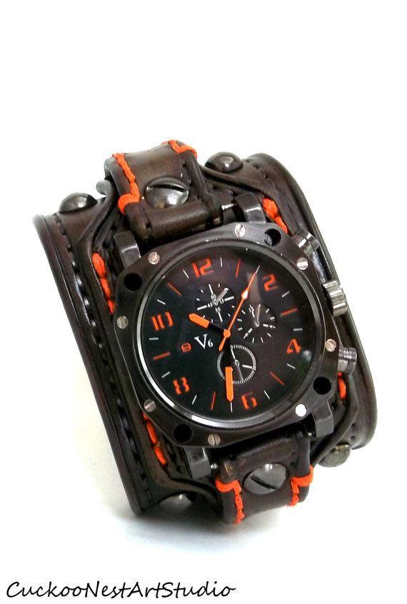 Men's watch, Leather Wrist Watch, Leather Cuff, Bracelet Watch, Watch Cuff, Brown with Orange stitching on Wanelo