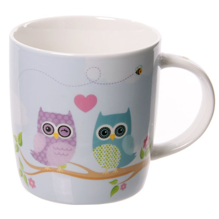 Coffee Mug Owls Printed Cute New Bone China Love Owls Design Cup Gift Idea by getgiftideas on Etsy