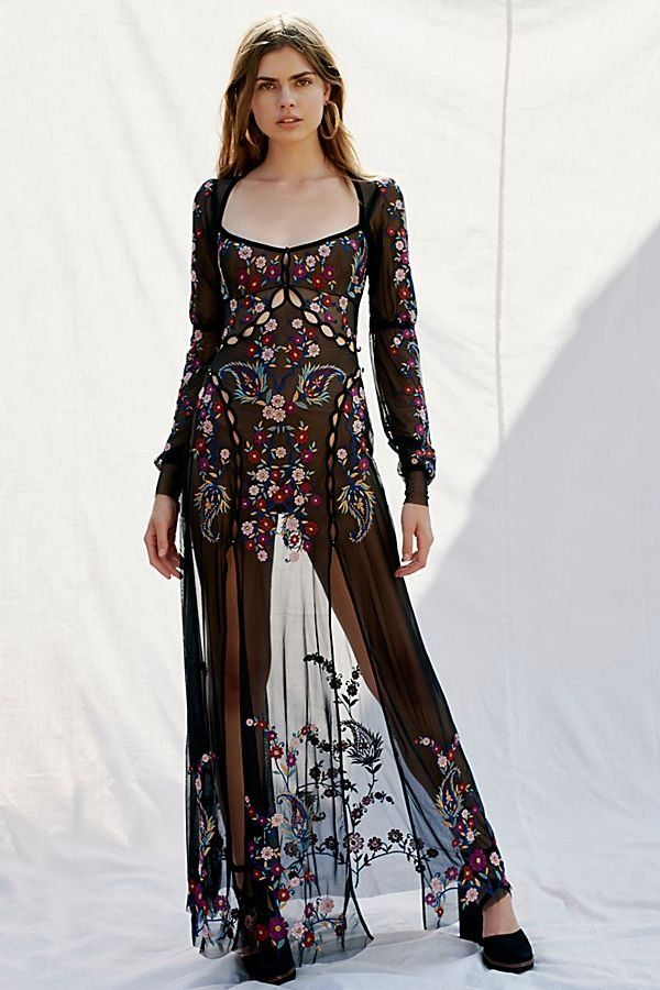 6c2fd1b5326 Ester Embroidery Maxi Dress - Sheer Black Embroidered Maxi Dress with Back  Cut Outs