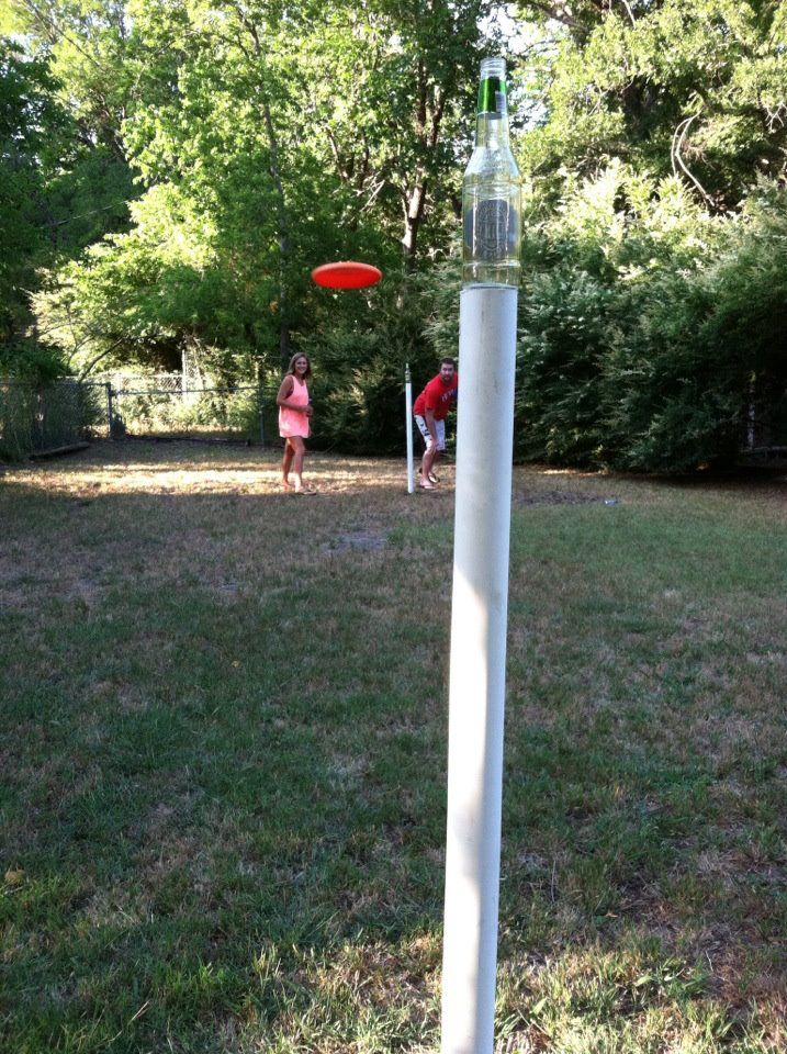 Drinking game? 2 teams- 2 poles staked into the ground, place an empty beer bottle on top each pole and try to knock it down with a frisbee.