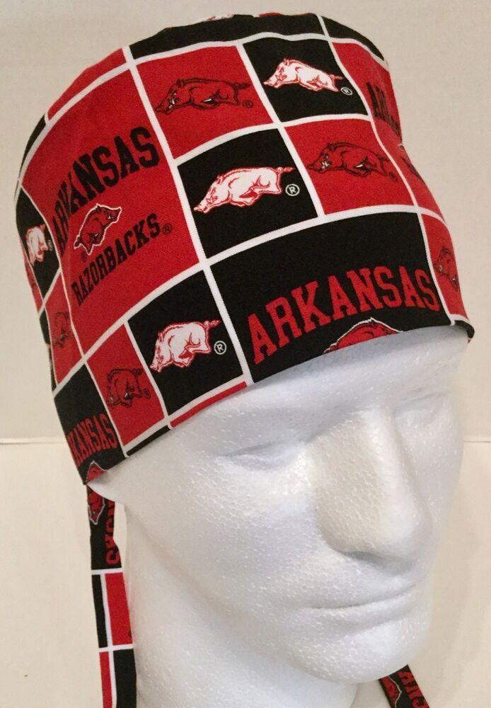 c1d29ed3fc0 Arkansas Razorbacks Print Size Large Medical Skull Scrub Cap Surgery Hat   Handmade