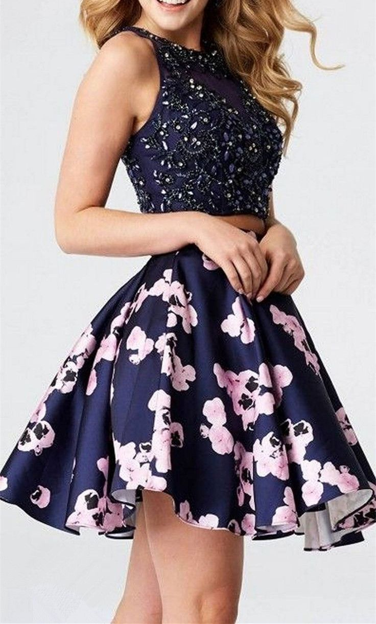 Luxury new arrival two pieces beaded homecoming dresshalter