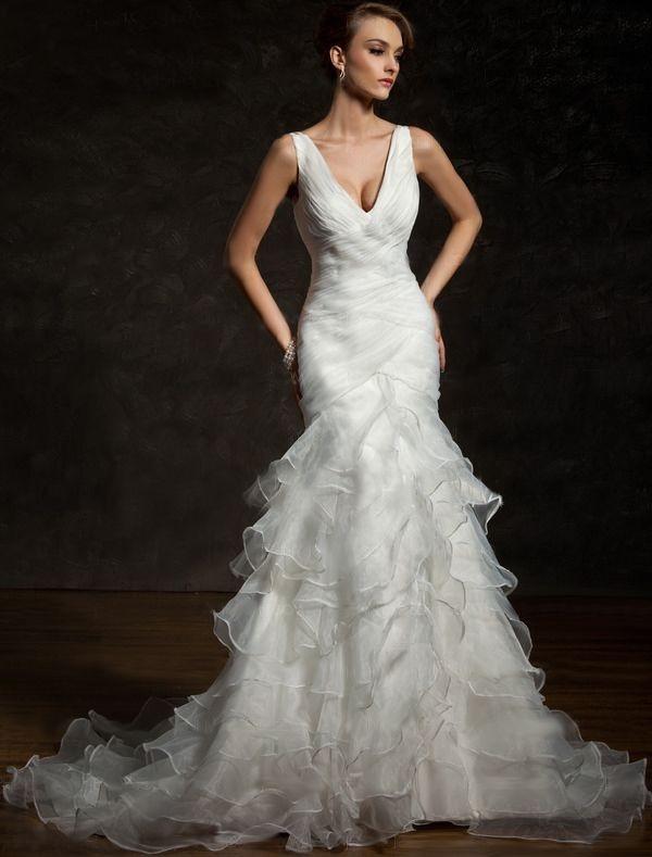Cascading Ruffles Wedding Dresses JJsHouse