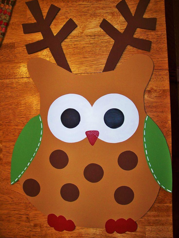 reindeer owl door hanger by carla gaddy