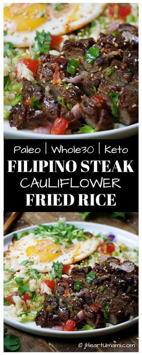 Paleo Filipino Skirt Steak Cauliflower Fried Rice ! Low carb cauliflower fried rice with gluten-free steak marinade pan seared in cast iron skillet. Add this easy healthy recipe to your Paleo, Keto, and Whole30 meal plan. Follow the link for quick video tutorial + print the recipe !