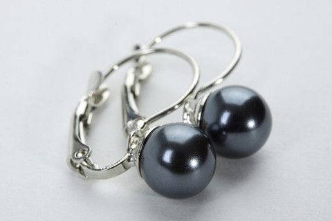 French Style Bead Earrings: Quintessentially elegant, this pair of earrings will add a touch of refinement to your outfit. A dainty style 7 mm lustre pearl in dark grey/blue colour set on French wire style hook. $39.90