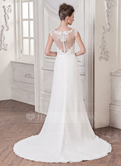 Trumpet/Mermaid Scoop Neck Court Train Chiffon Wedding Dress With Appliques Lace Bow(s) (002058761)