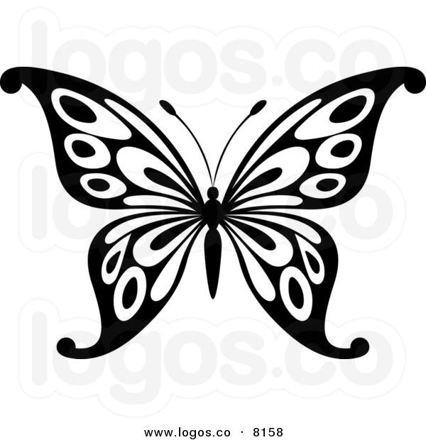 royalty free vector of a black and white butterfly logo by
