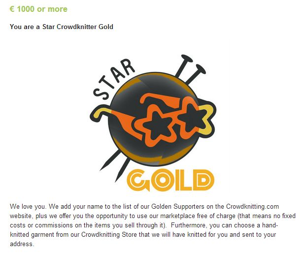 Star Crowdknitting GOLD, crowdfunding campaign on Indiegogo http://www.indiegogo.com/projects/crowdknitting-community