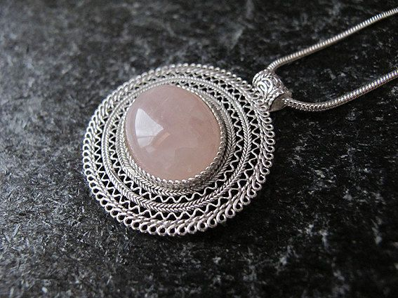 Jewelry Necklace Rose Quartz  necklace Israel by MorSilverJewelry