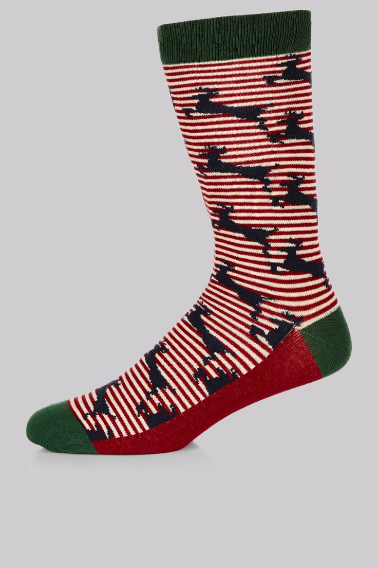 Ted Baker Red Deer Pattern Socks Red and green should definitely be seen. Be festive yet stylish with these deer patterned socks by Ted Baker. Nothing says winter fun like navy deer on a red and white candy-cane striped background an http://www.MightGet.com/january-2017-12/ted-baker-red-deer-pattern-socks.asp