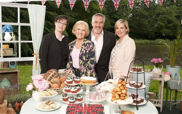 The Great British Bake Off: presenters Mel and Sue with judges Mary Berry and Paul Hollywood.