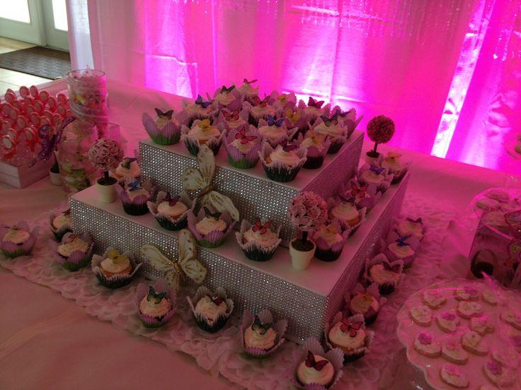 Butterfly cupcake tower handmade dessert candy station for baptism wedding