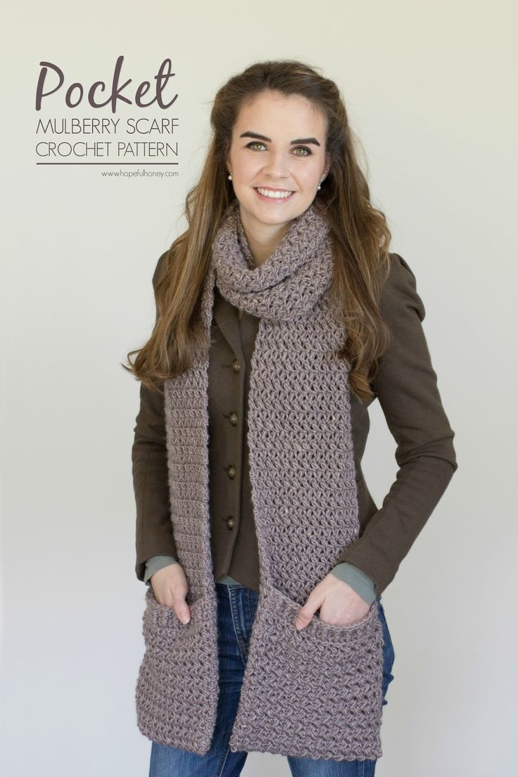 Hopeful Honey | Craft, Crochet, Create: Mulberry Shadow Pocket Scarf - Free Crochet Patter...