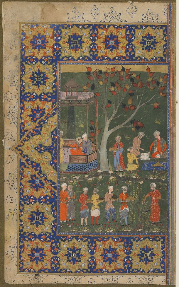 Folio from an unidentified text; recto: A party in a garden, left-hand half of a double-page Medium: Ink, opaque watercolor and gold on paper Dimensions: H x W: 41.2 x 24.2 cm (16 1/4 x 9 1/2 in) Type: Manuscript Origin: Shiraz, Iran Topic: chess, Safavid period (1501 - 1722), celebration, pavilion, garden, Iran, food, Arts of the Islamic World, Henri Vever collection Credit Line: Purchase--Smithsonian Unrestricted Trust Funds, Smithsonian Collections Acquisition Program, and Dr. Arthur M…