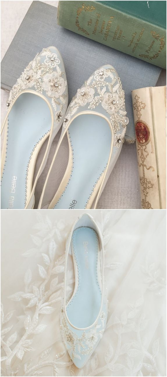 Wedding Dress And Blue Shoes