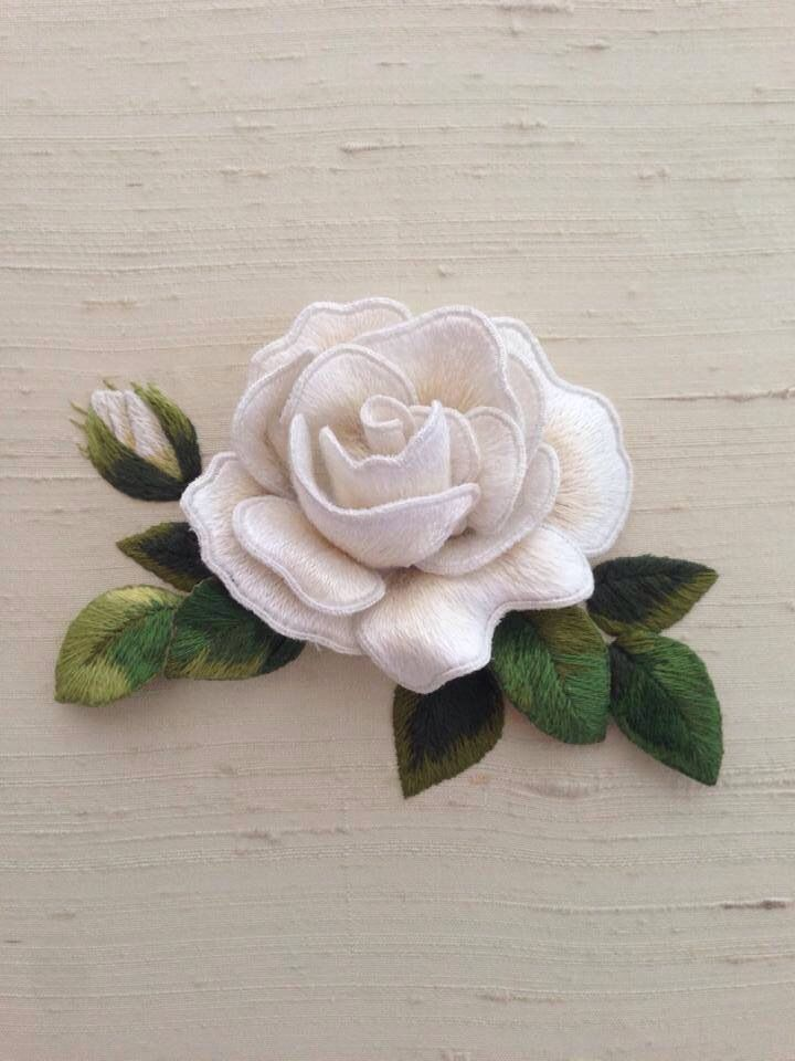 Beautiful white rose designed and stitched by Susan Porter of Embellish Embroidery, Grafton.