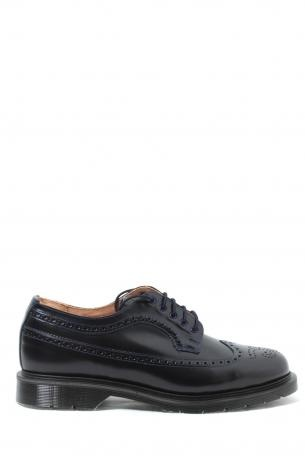 Solovair Man Shoes - navy smooth 5 eye brogue shoe - navy dark blue leather shoes made ​​in England. Derby closure. Rubber sole. Leather interior. Solovair Collection Spring Summer 2013.