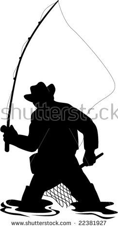 Fly Fisherman catching a trout #flyfisherman #silhouette #illustration