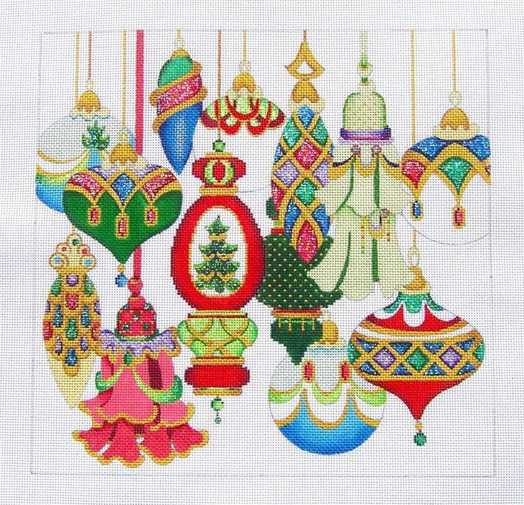 Strictly Christmas Elegant Ornaments Handpainted Needlepoint Canvas LG 13 Mesh | eBay