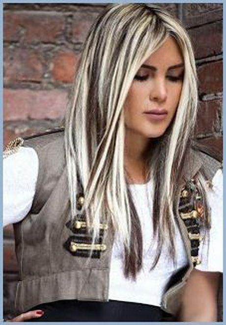 Blonde Haare Mit Schwarzen Strähnen Frisur Ideen In 2019 Hair