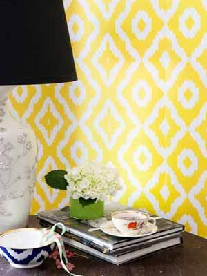 I love this yellow wallpaper for a nursery....super, duper, far-away future!