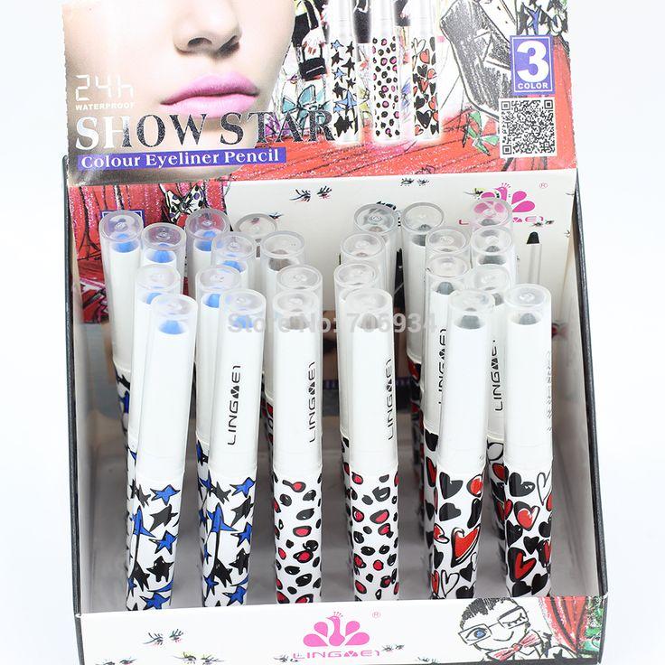 Eyeliner Pencil Pen Waterproof Eye Liner 24 pcs/lot Black&Brown&Blue color Cute Eyeliners Eye Liner Net 2.5g LM1980