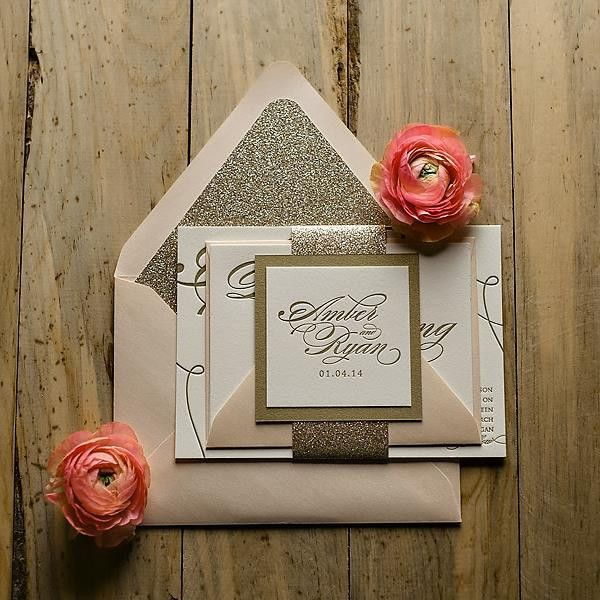 completely awestruck by these gorgeous gold glitter wedding invites! see more super darling paper goods from Just Invite Me here http://www.weddingchicks.com/vendor-guide/just-invite/