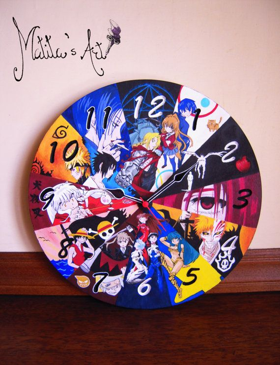 Anime Wall Clock Hand Painted by Matita's Art