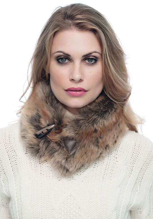 Coyote Faux Fur Toggle Scarf On Sale $49 fabulousfurs.com #fabulousfurs