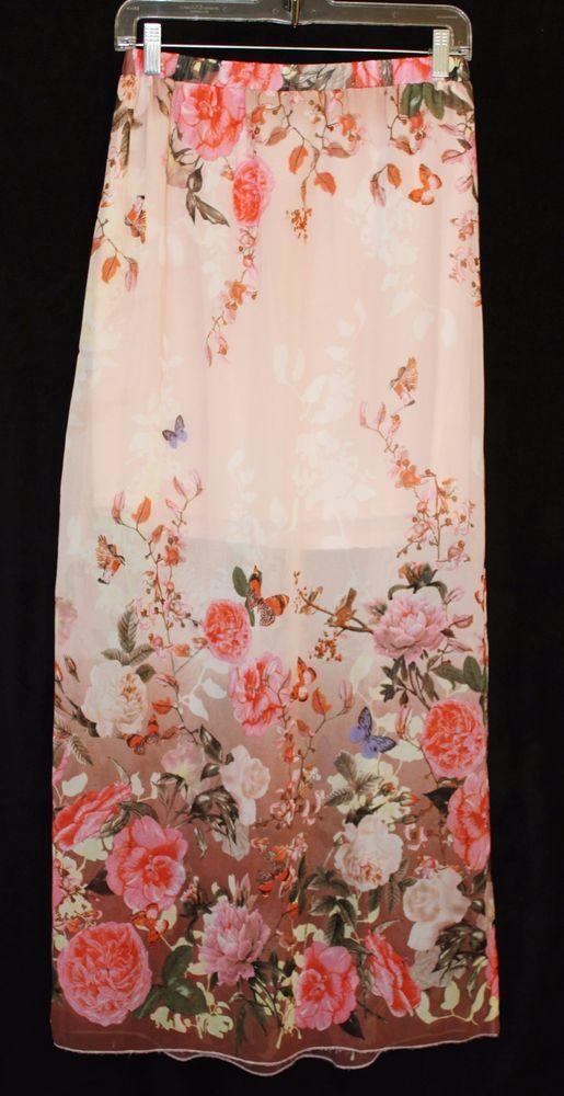 Parisian Collection Womens Maxi Skirt Semi Sheer Sz M L Floral Butterfly Birds  #ParisianCollection #Maxi