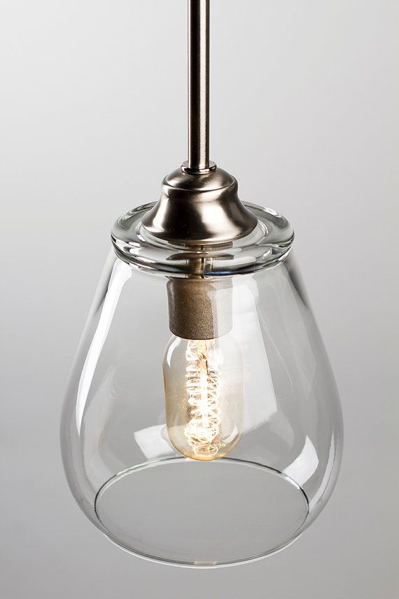 Pendant light fixture edison bulb brushed nickel pear for Over island light fixtures